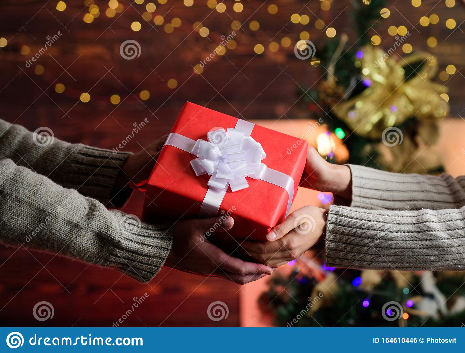 New Year Is Coming Present For Xmas Holiday Gift With Love Man Give Woman Box Family Values Loving Each Other Stock Photo Image Of Purchase Shopping 164610446