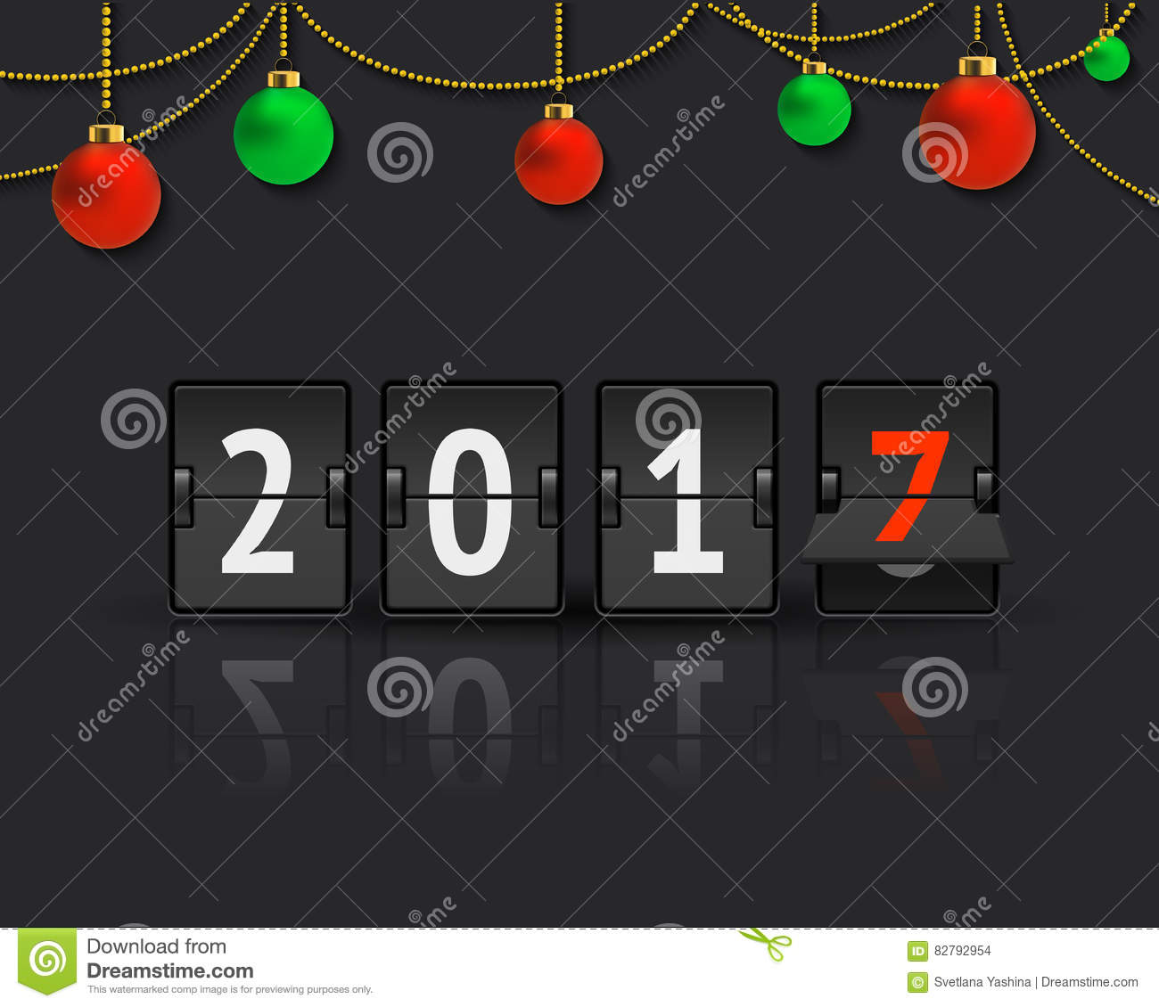 New Year concept with christmas balls.