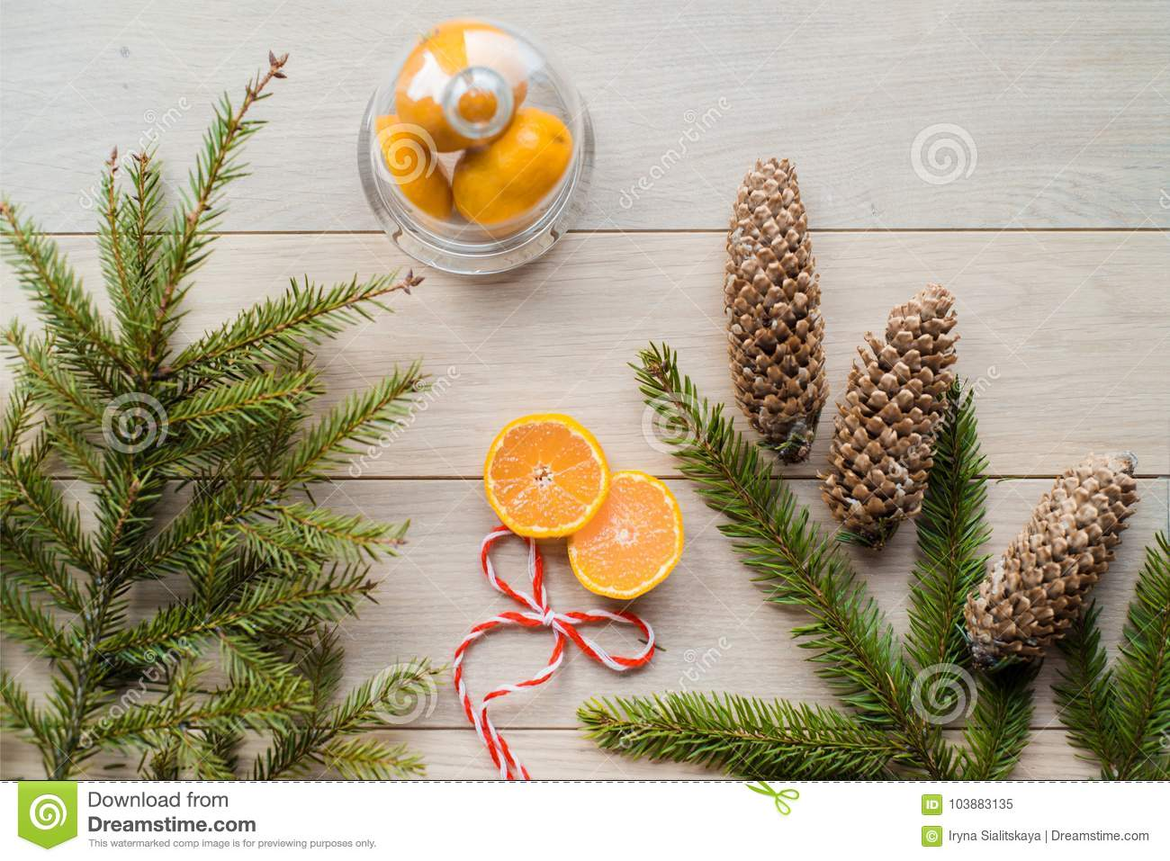New Year Concept. Christmas Decorations From Fir-tree Branches And ...