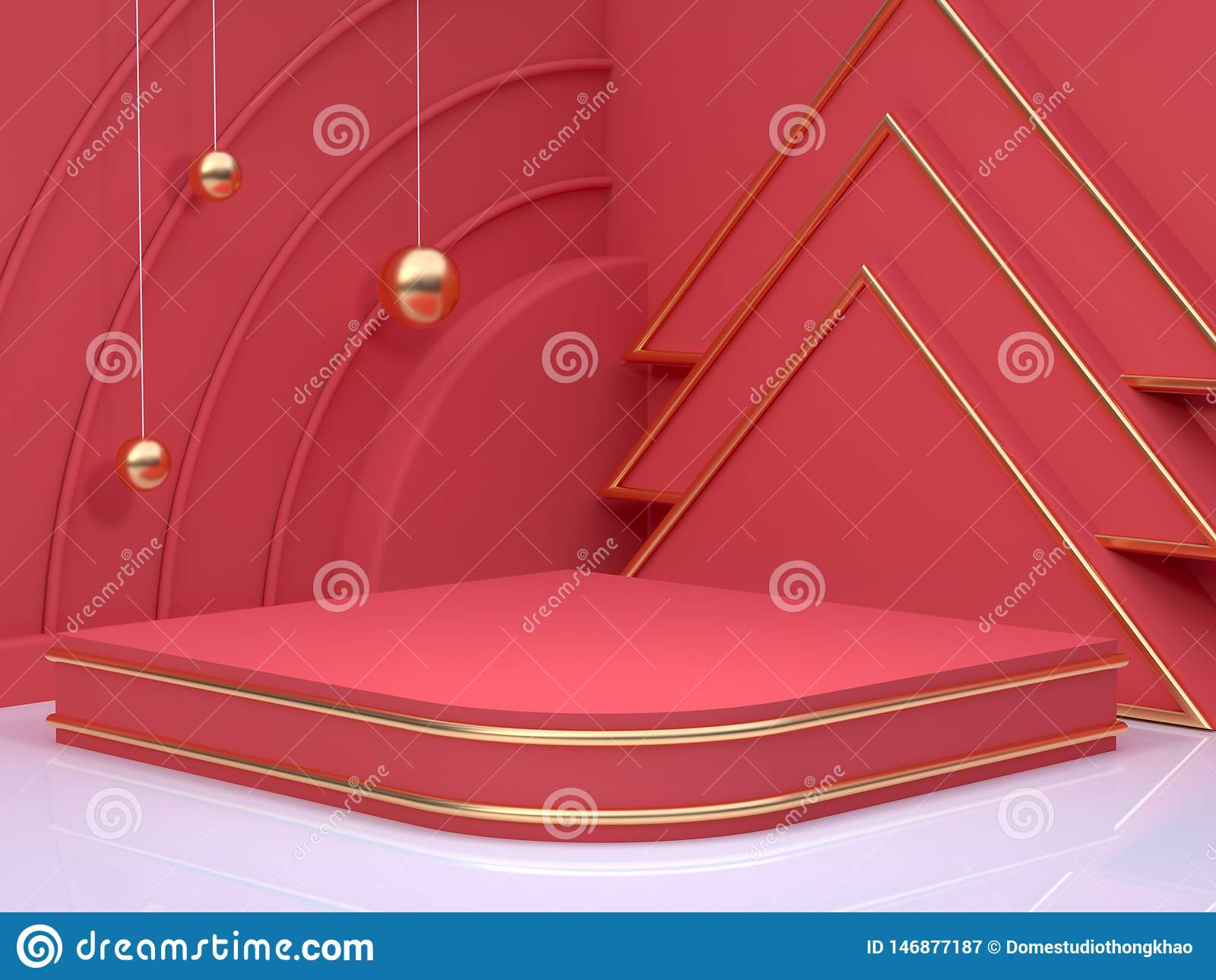 New year concept 3d rendering gold sphere red scene wall floor corner abstract minimal christmas holiday
