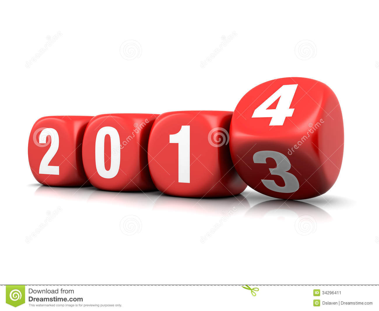3d render of new year 2014 stock photo image 35402120