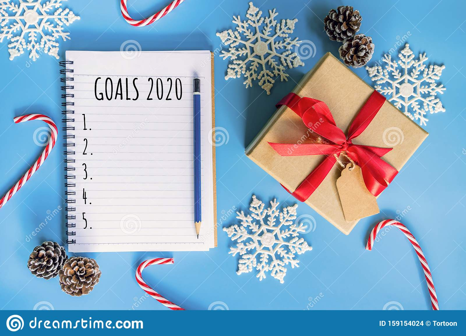 2020 New Year Concept. Goals 2020 List In Notepad, Gift ...