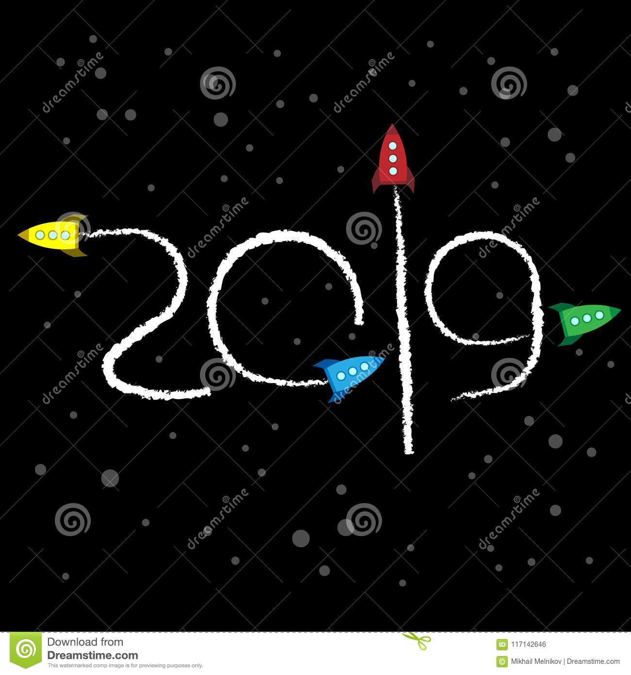 New Year 2019 Concept Space Stock Vector Illustration Of Card