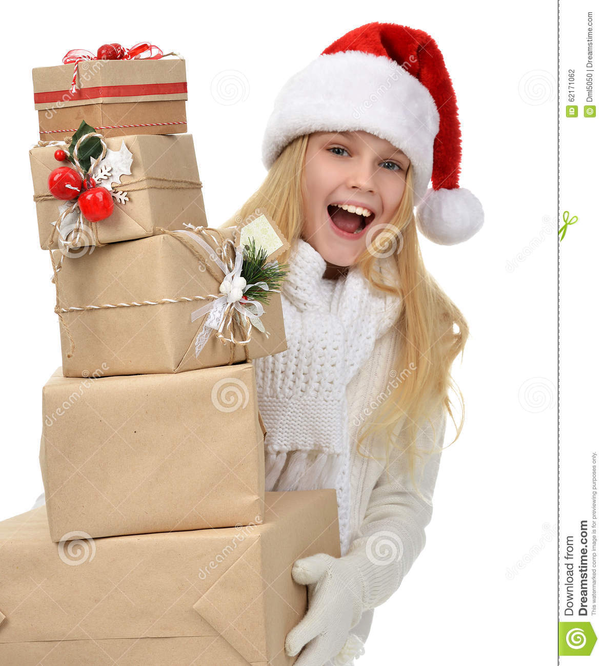 New Year 2016 Concept Teenage Girl With Christmas Presents ...
