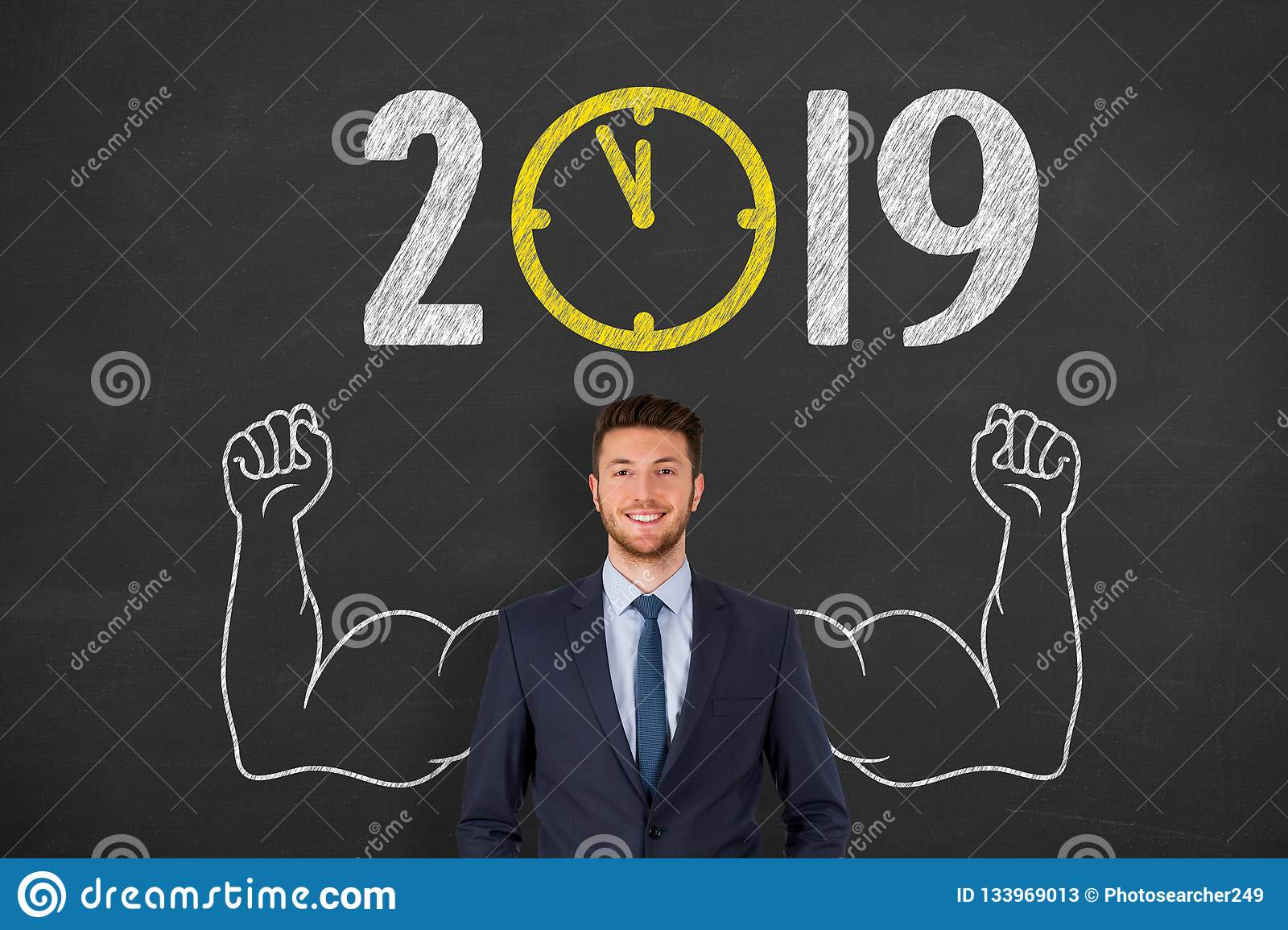 New year concepts 2019 countdown clock on chalkboard background