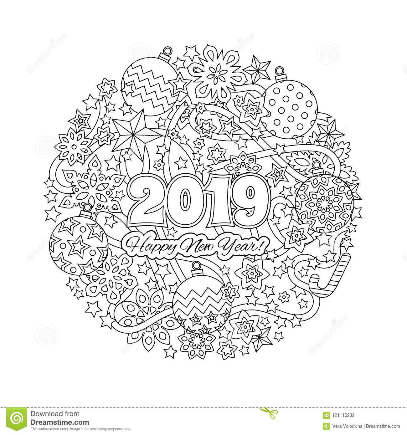 New Year Congratulation Card With Numbers 2018 On Winter Holiday Background Christmas Mandala Antistress Coloring Book For Adults Zen Monochrome Graphic
