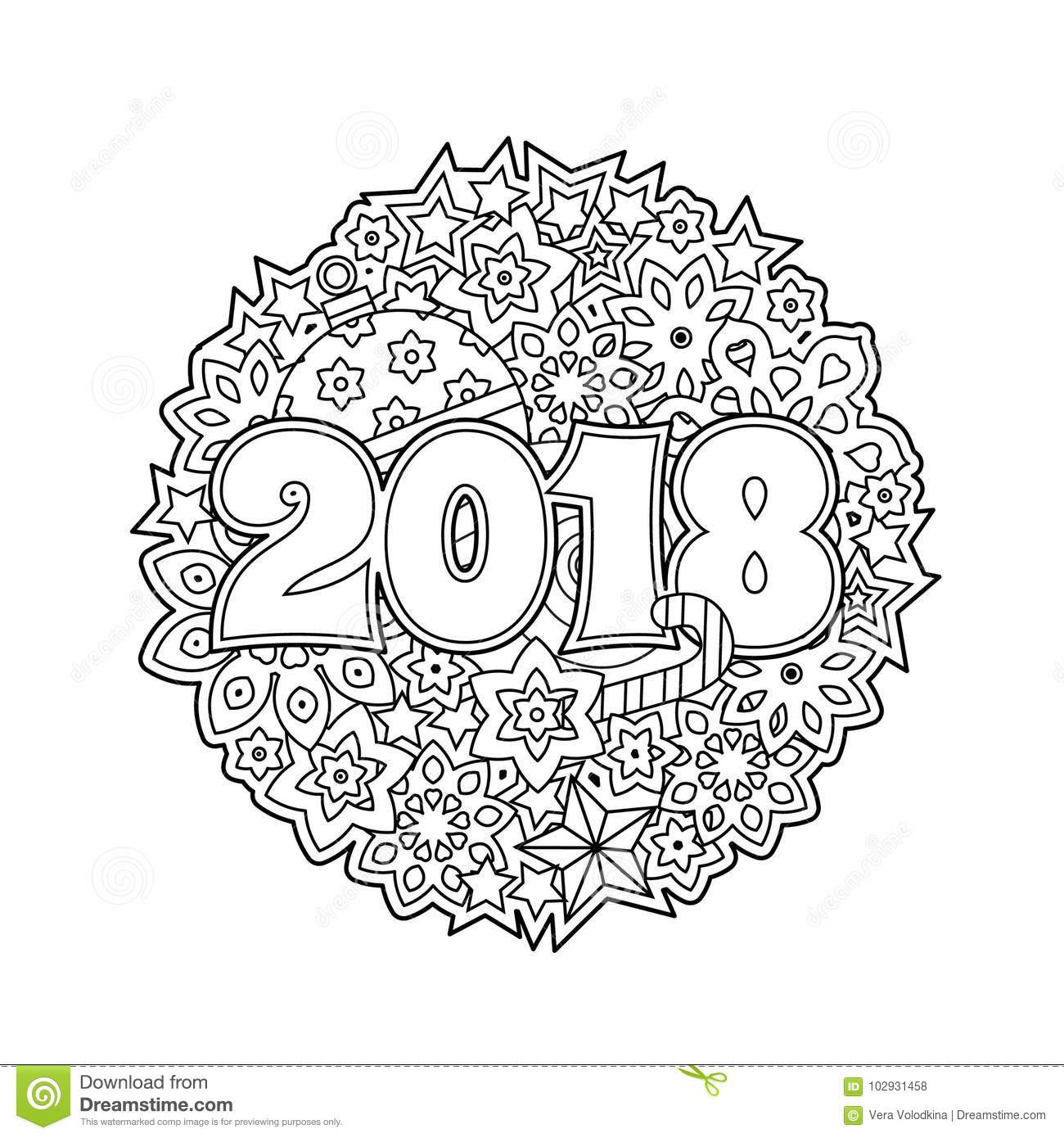 New Year Congratulation Card With Numbers 2018 On Winter Holiday