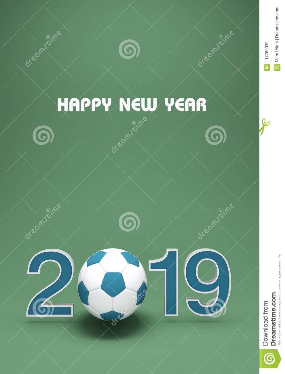 New Year 2019 Creative Design Concept With Football Stock