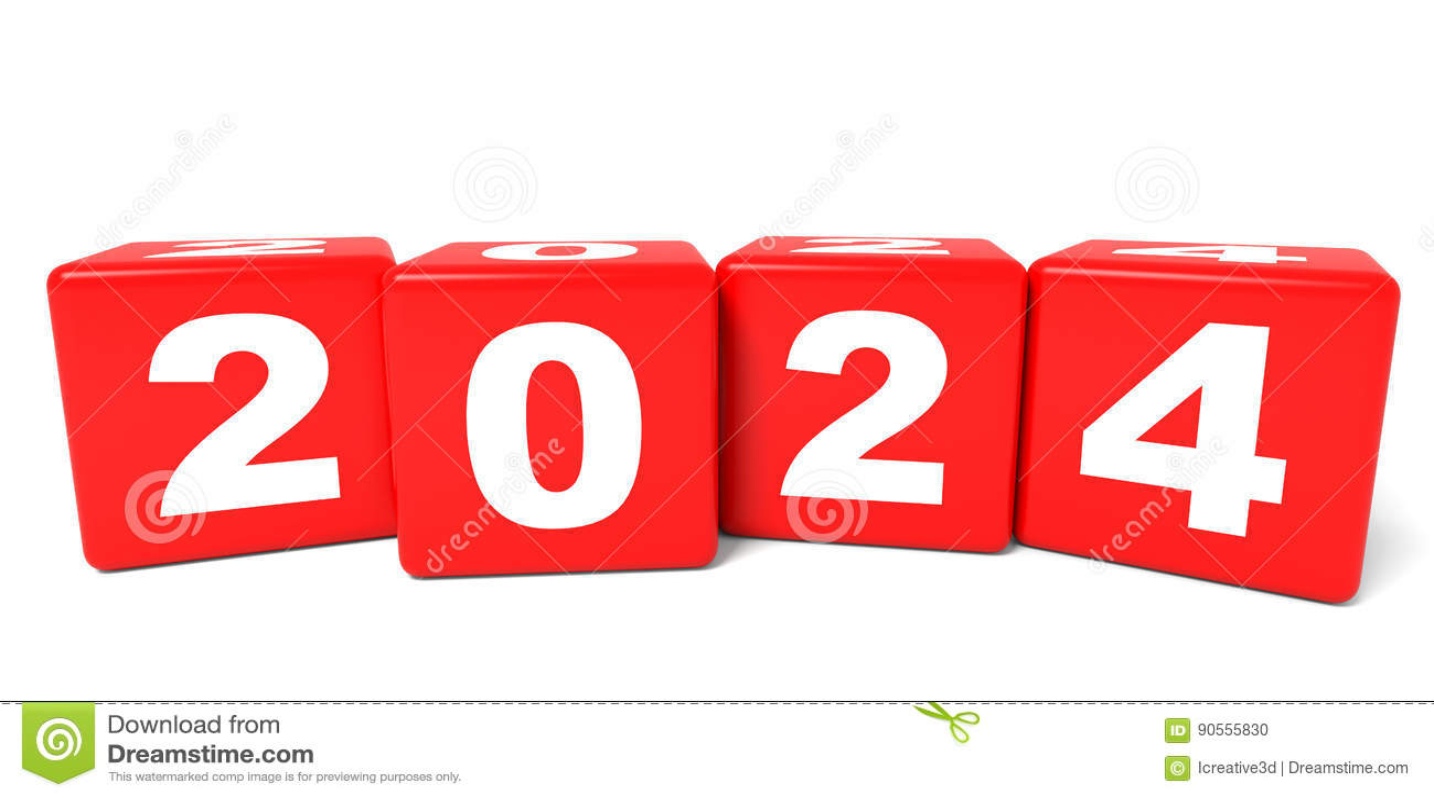 2024 New Year cubes  stock illustration  Illustration of