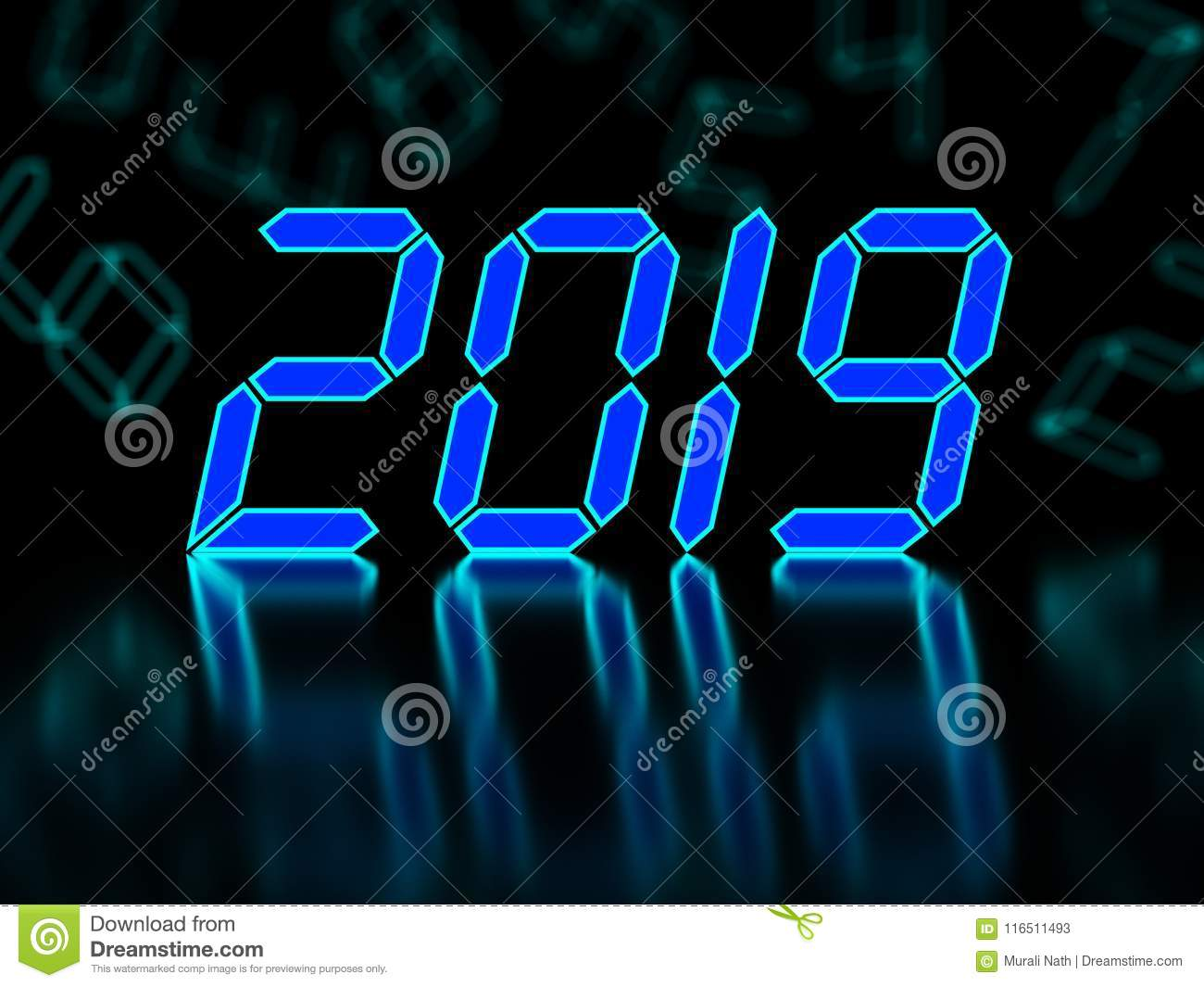 New Year 2019 - 3D Rendered Image Stock Illustration