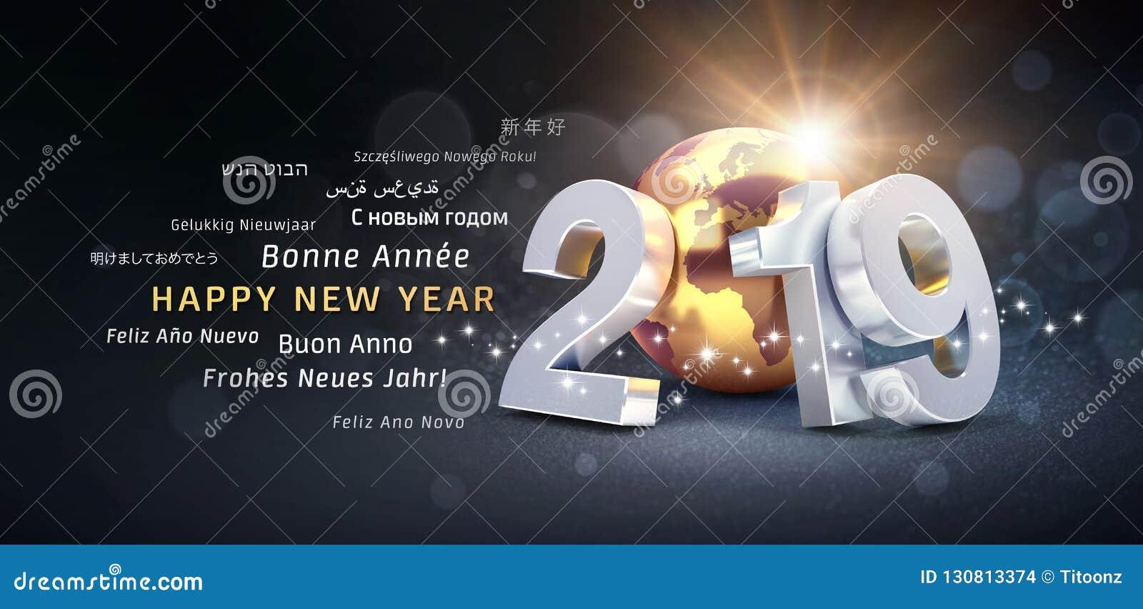 happy new year 2019 international greeting card