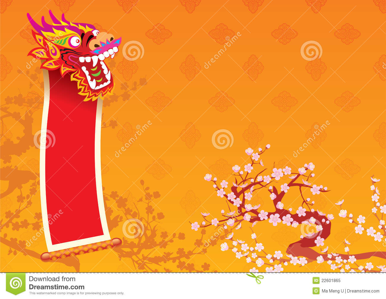 new year day dragon and lucky message background
