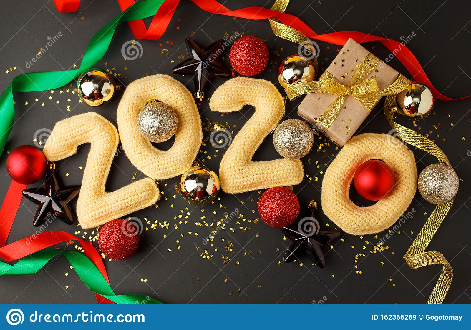 New Year Decoration On 2020, Christmas Or New Year Banner ...