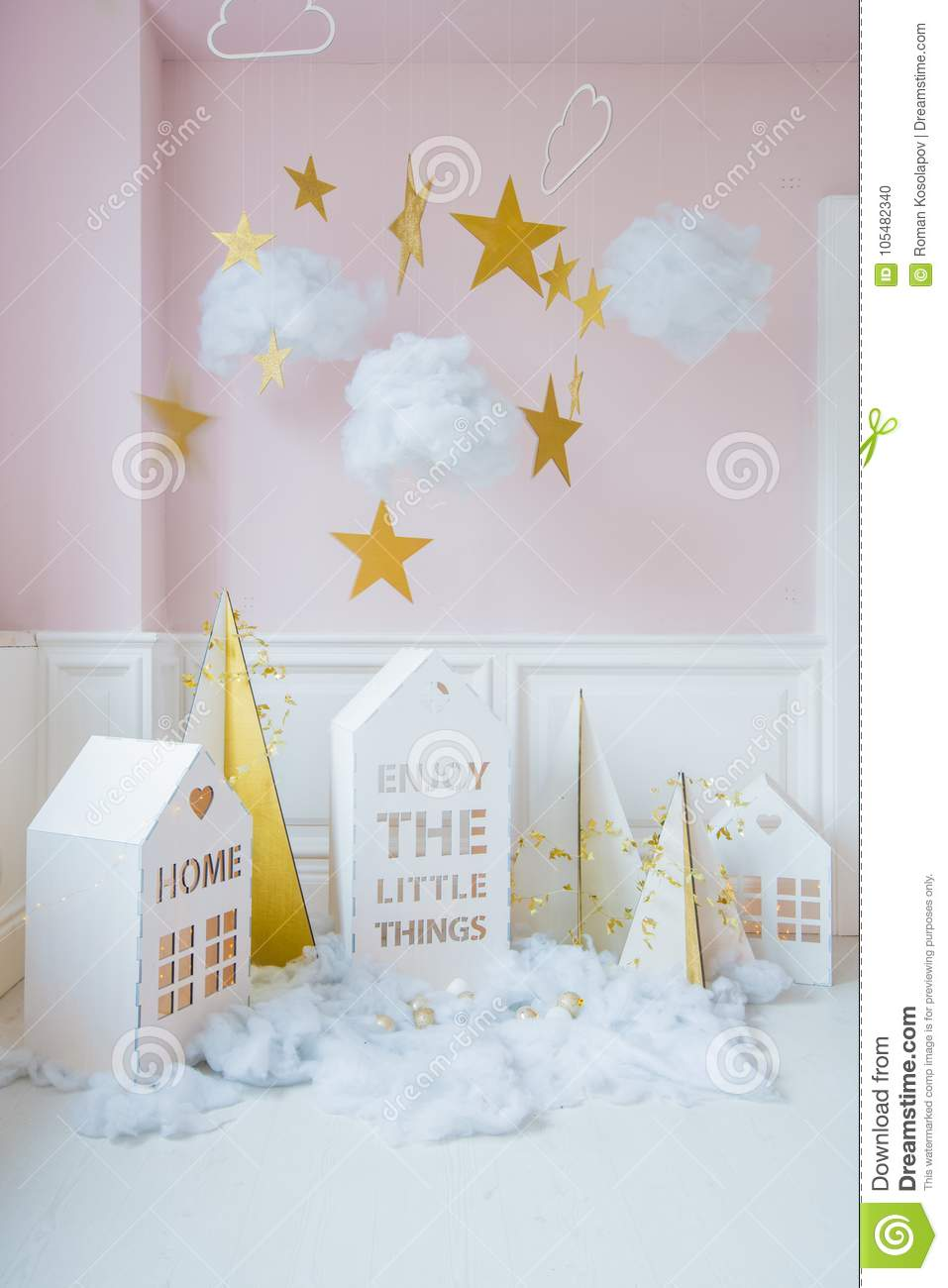 New Year Decoration. Tiny Christmas Houses.Christmas Background With ...