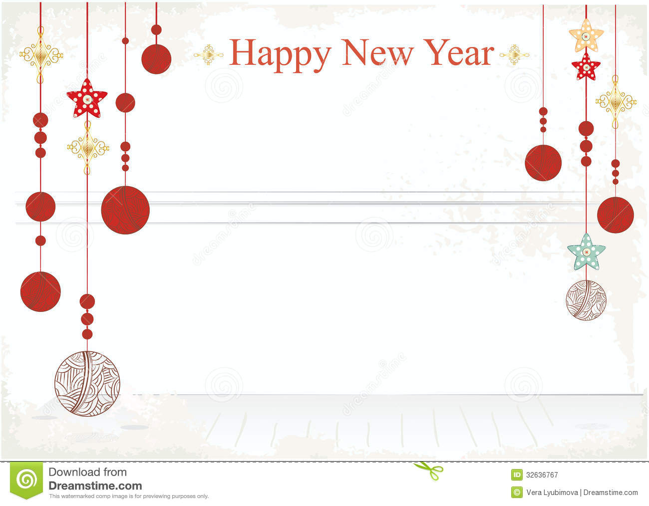 New Year Decorations On A Card Design Royalty Free Stock ...
