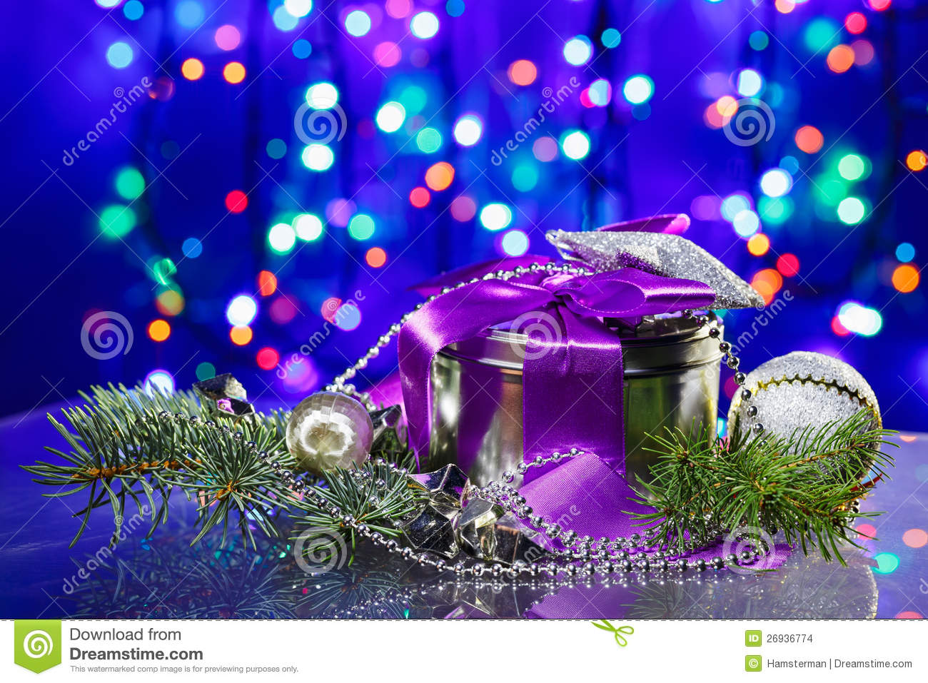 New Year Decorations With Fancy Box Stock Photo - Image of ...