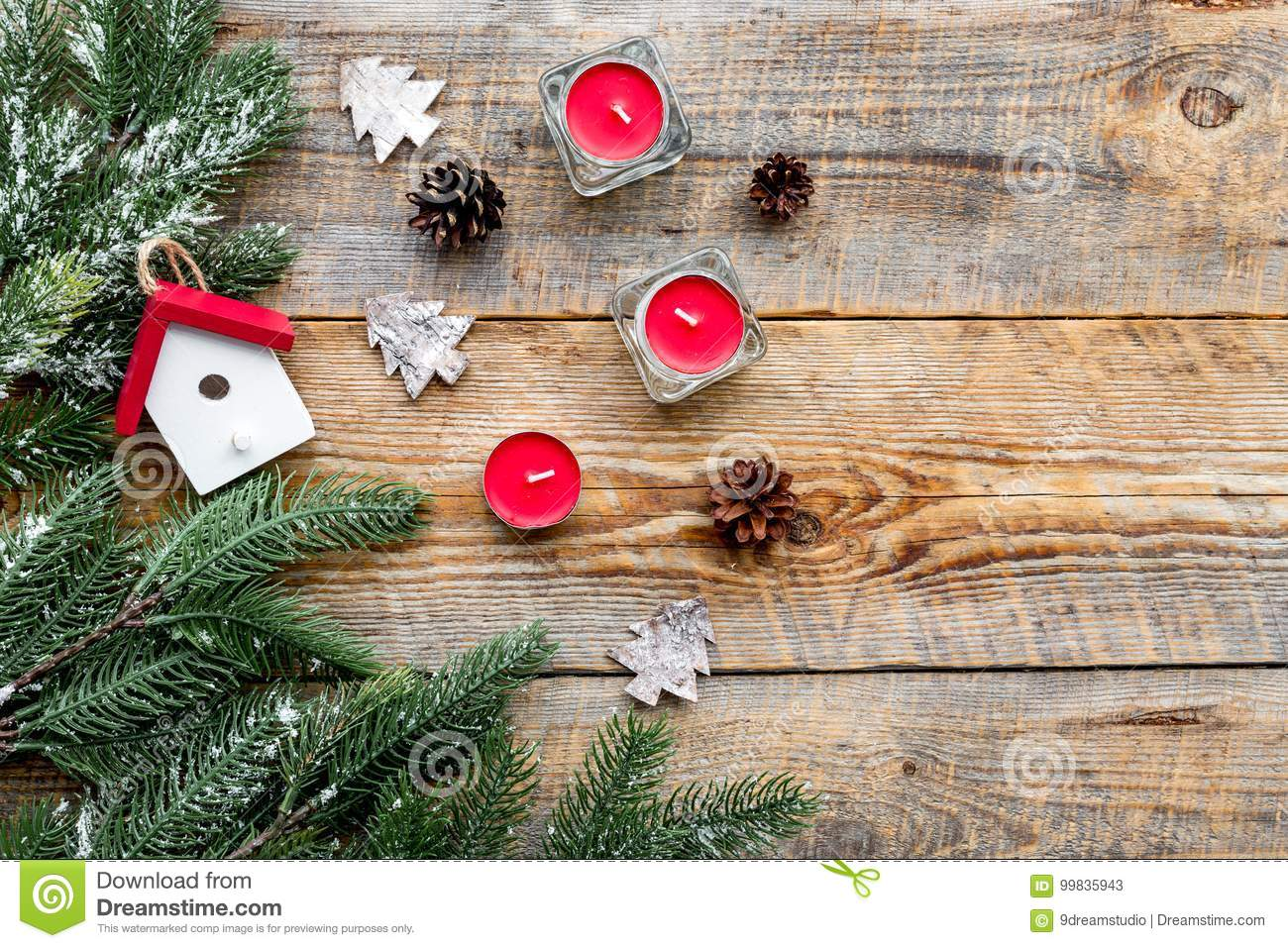 New year decorations with house toys candles and for Tree decorations for home