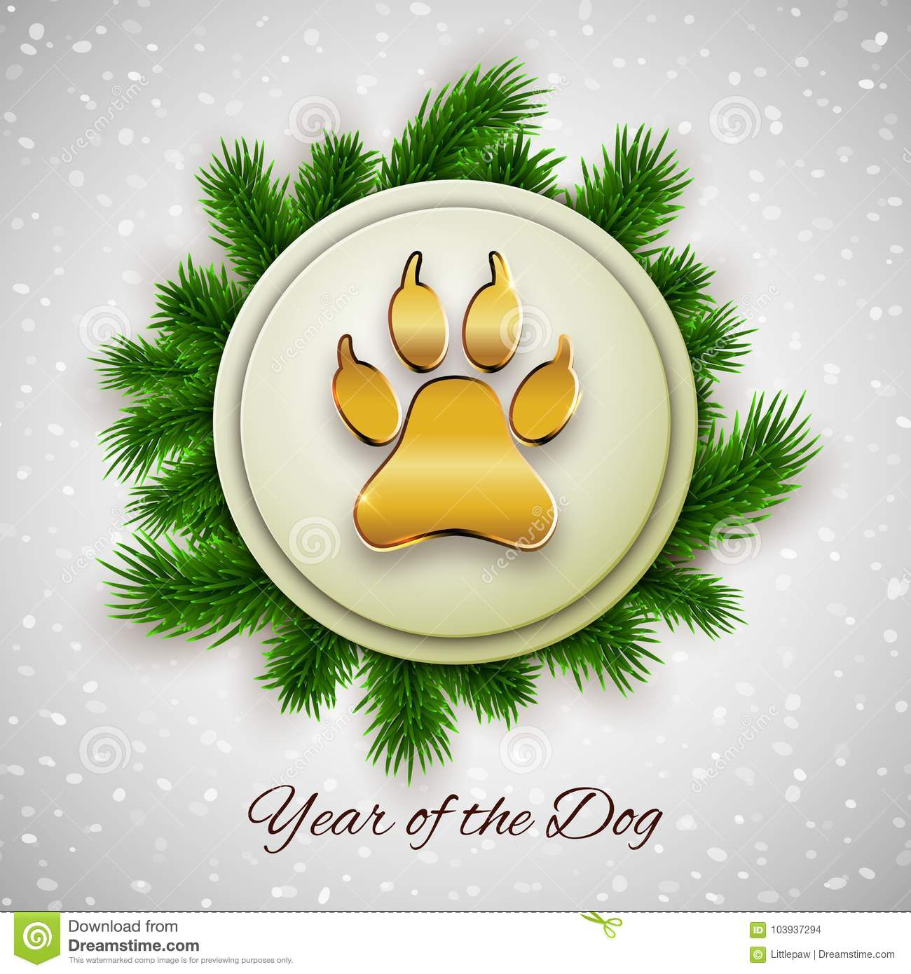 New Year of the dog holiday postcard with paw footprint, vector