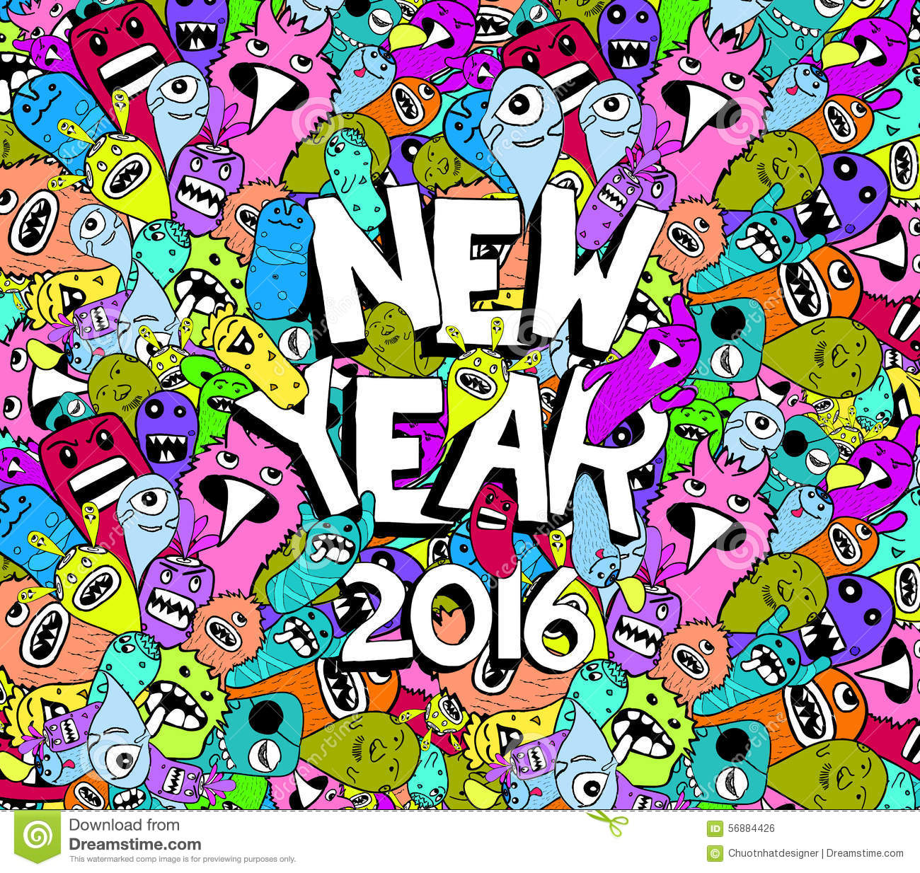 New Year 2016 Doodle Hipster Colorful Background Stock ...
