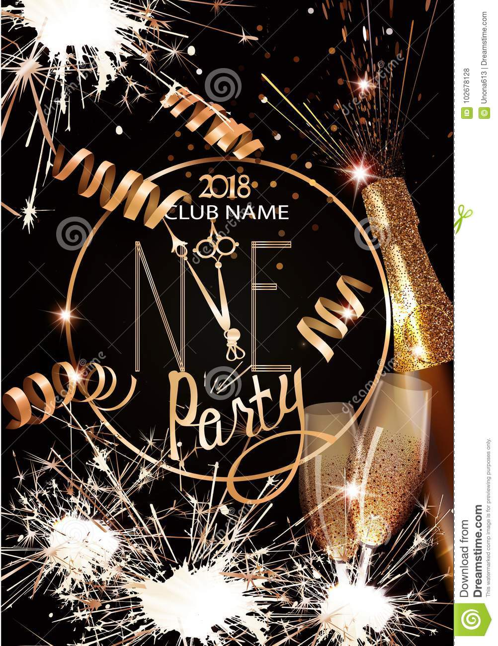 new year eve invitation card with glasses and bottle of champagne sparklers and serpentine