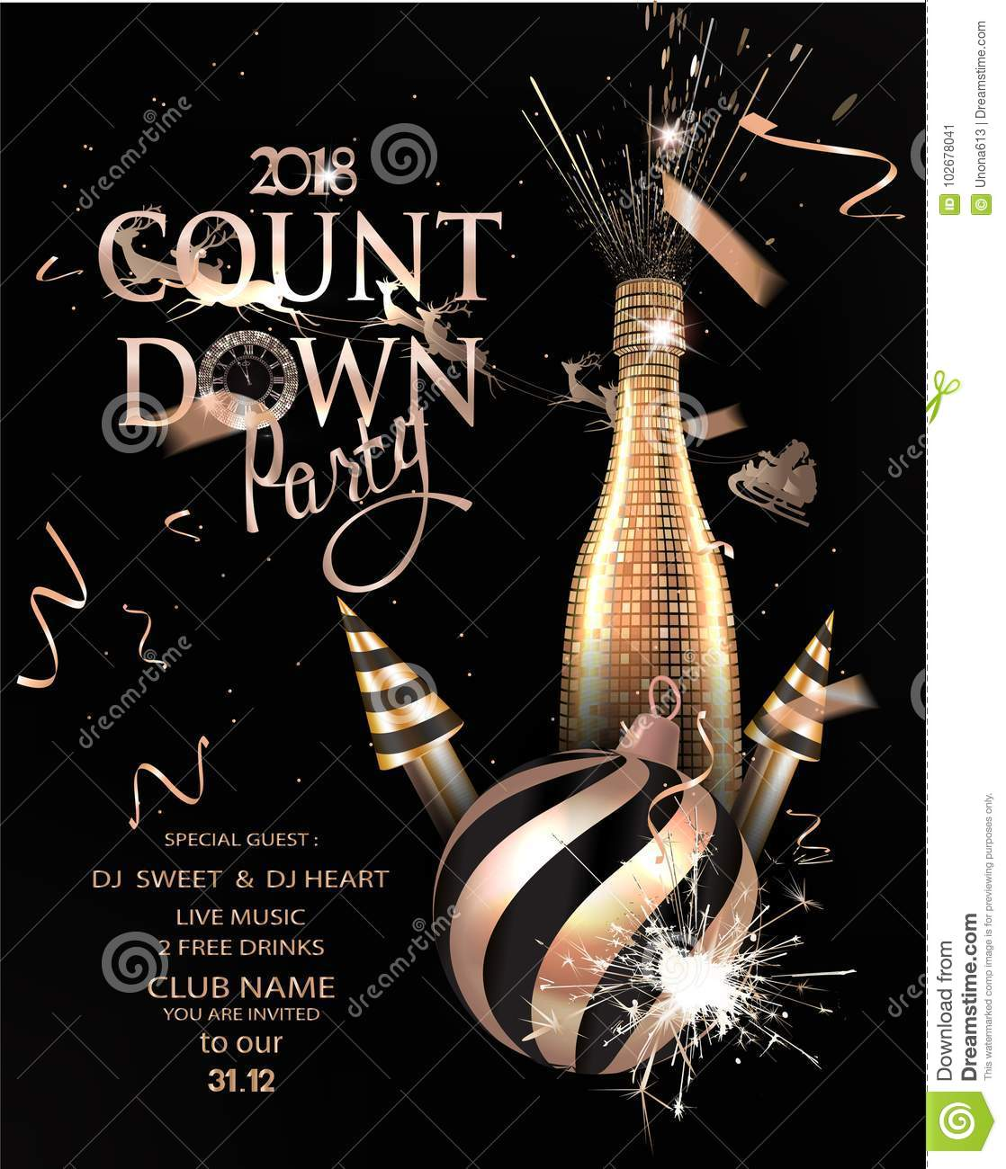 New Year Eve Invitation Card With Gold And Black Christmas