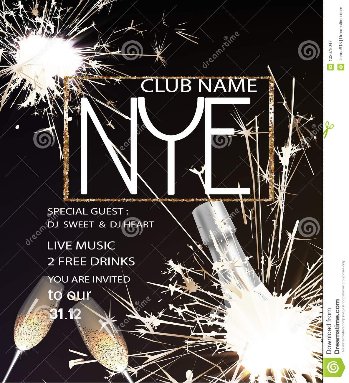 new year eve party invitation card with bottle of champagne glasses and sparklers