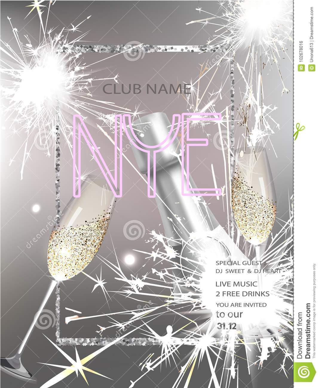 New Year Eve Party Invitation Card With Bottle Of Wine, Glasses ...