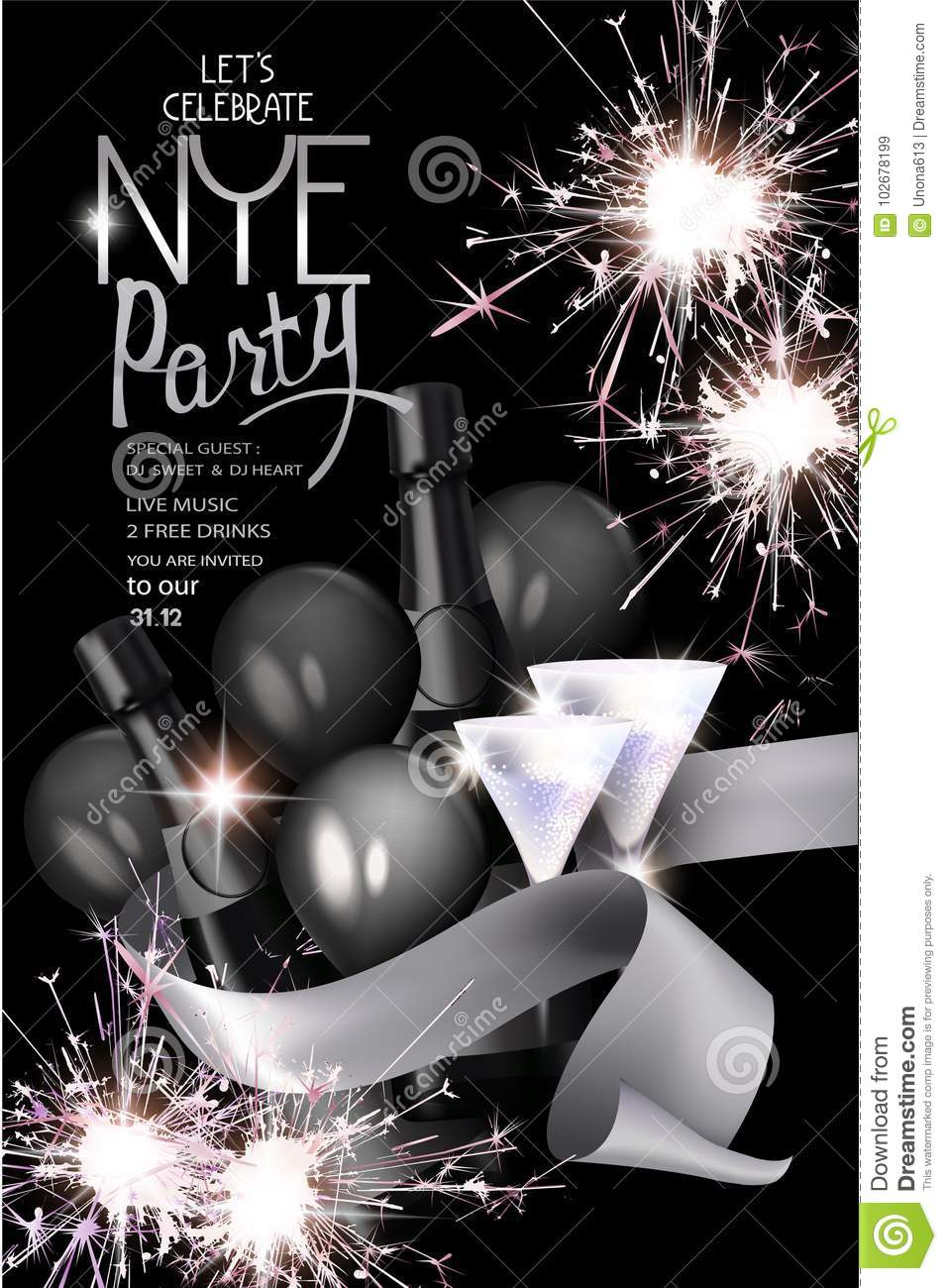 new year eve party invitation card with sparklers bottle of champagne ribbon and glasses