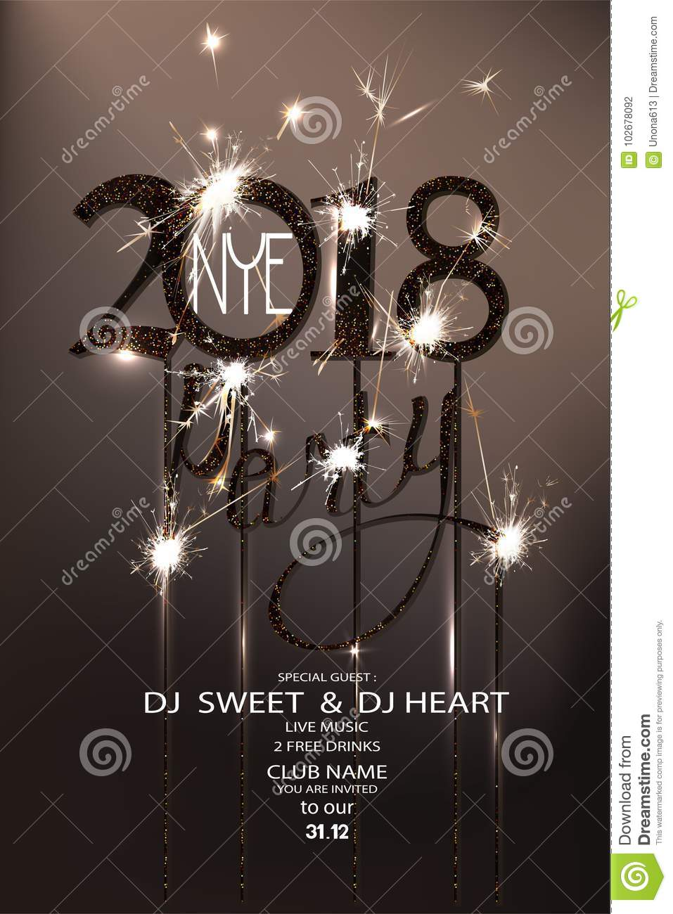 new year eve 2018 party invitation card with sparklers and serpentine
