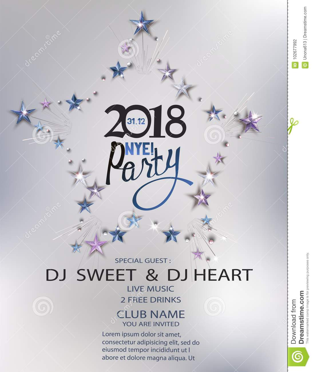 new year eve party invitation card with stars arranged in shape of star