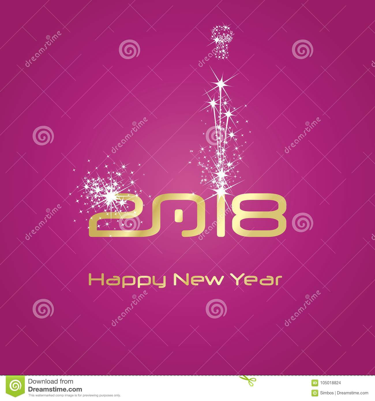 new year 2018 fashion firework gold white pink background
