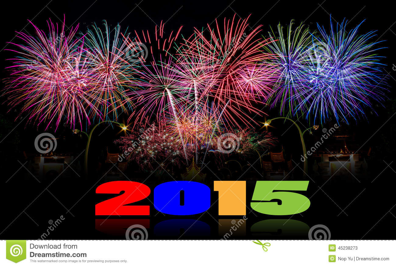 new year 2015 firework celebration background stock photo