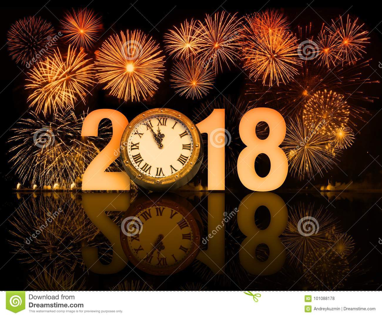 new year 2018 fireworks with clock face