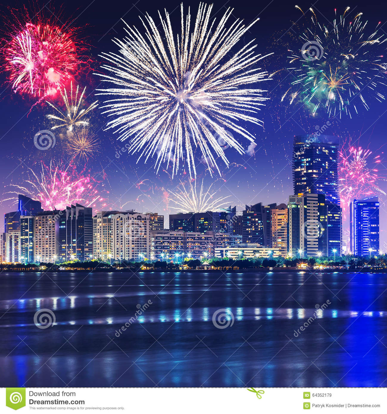 New Year Fireworks Display In Abu Dhabi Stock Image - Image of landmark, capital: 64352179