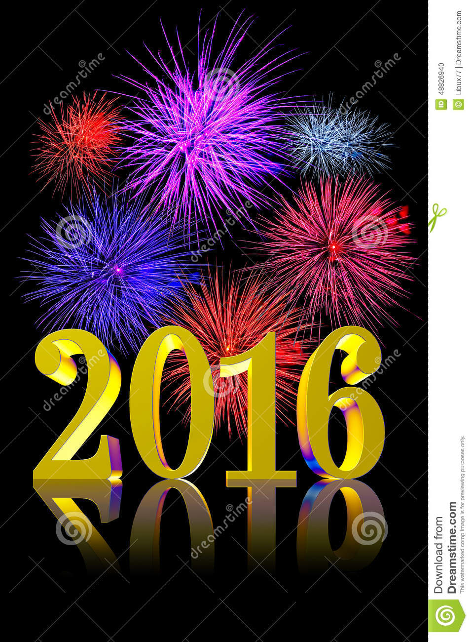 New Year 2016 Fireworks stock illustration. Illustration of annual ...