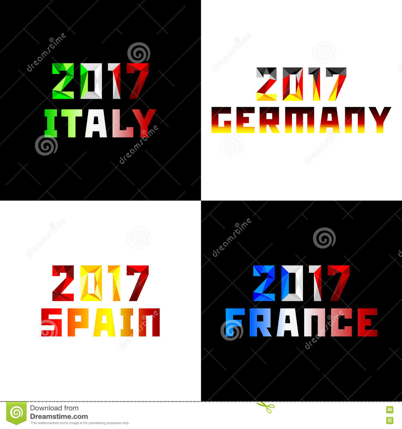 new 2017 year in flag color stock vector illustration of poly