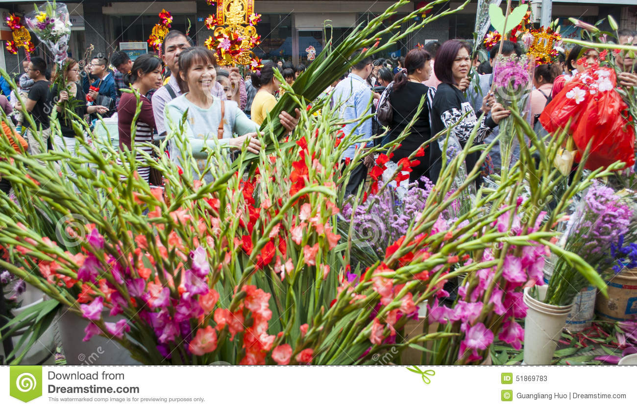 New year flower market editorial stock photo image of