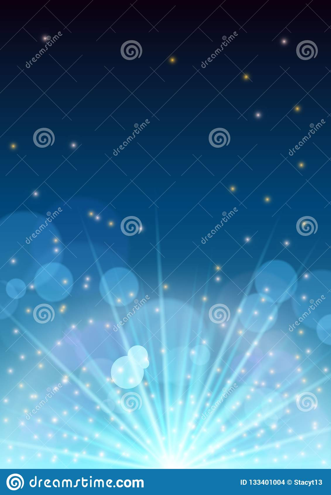 New Year banner flyer concept with firework flare,glowing stars,light flashes,highlight circles,christmas background
