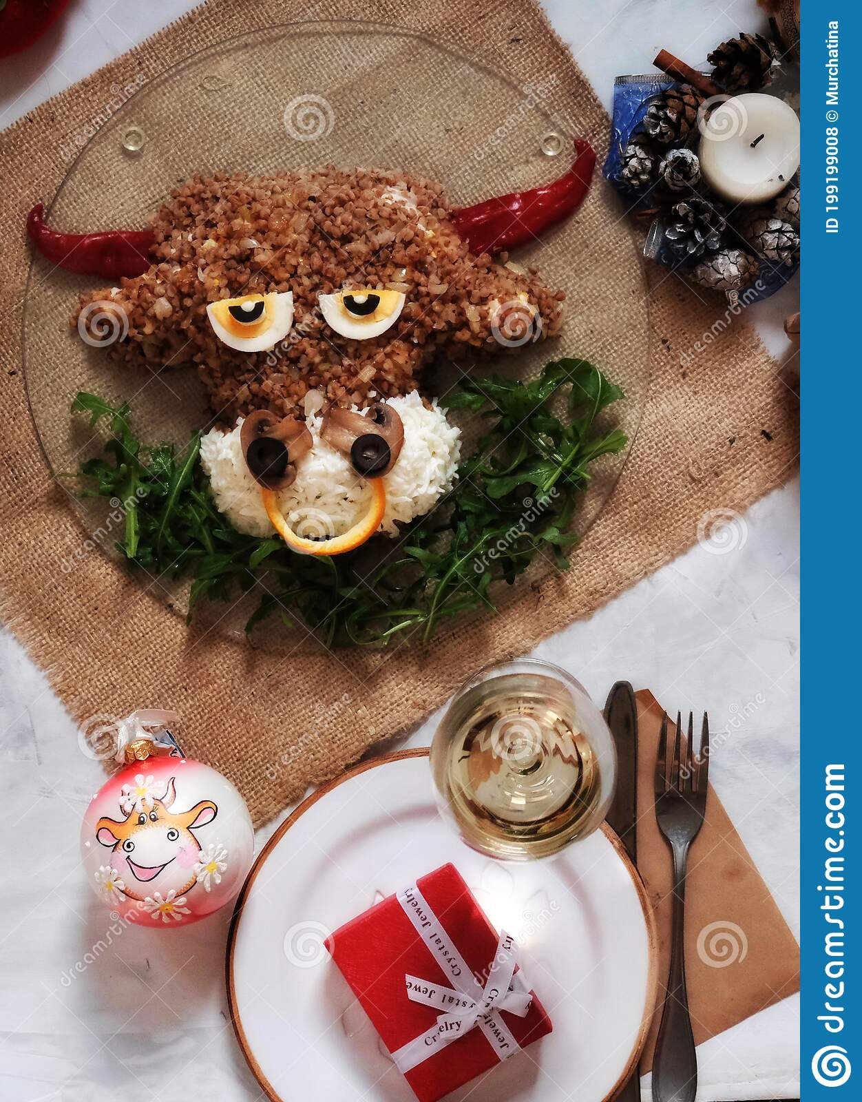 Is Jewel Open On Christmas 2021 New Year Food Food Art Bull Shaped Salad Flatlay Salad New Year 2021 Christmas 2021 Flat Lay Top View Champagne Stock Photo Image Of Decorate Cooked 199199008