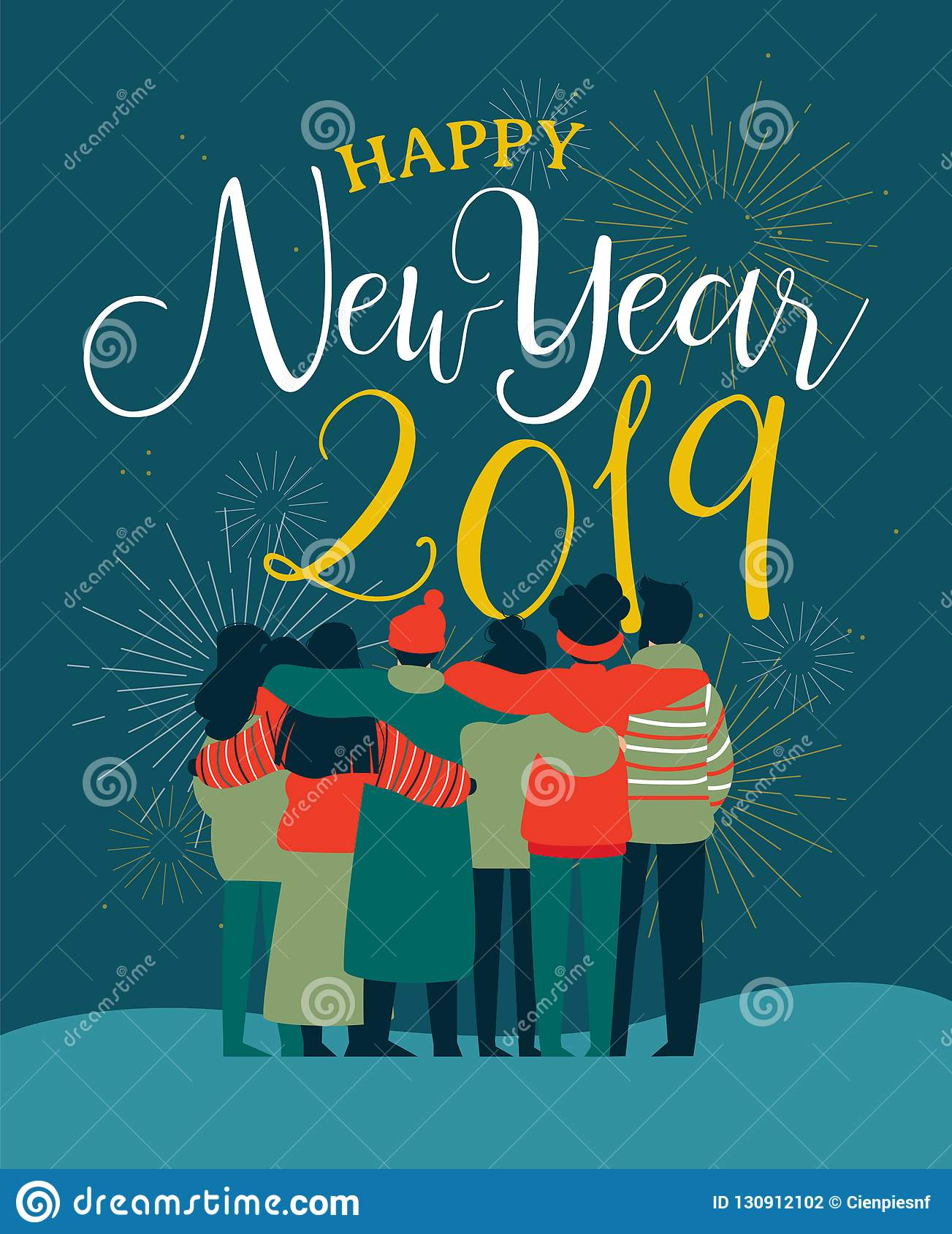 new year 2019 friend people group greeting card