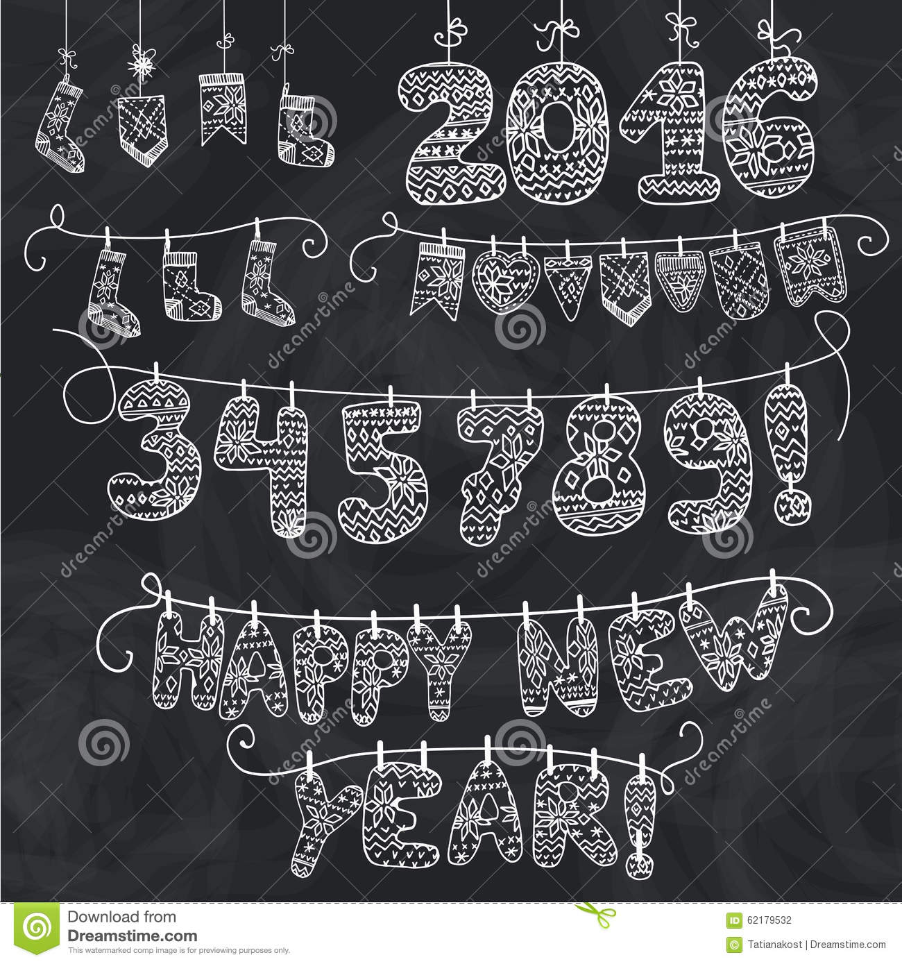 Knitting Letters Template : New year garland knitted numbers socks letters stock