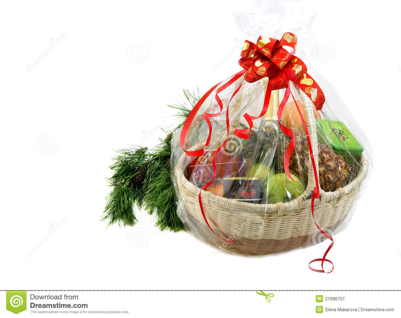 New Year Gift Basket And Pine Branch Stock Image - Image: 21996707