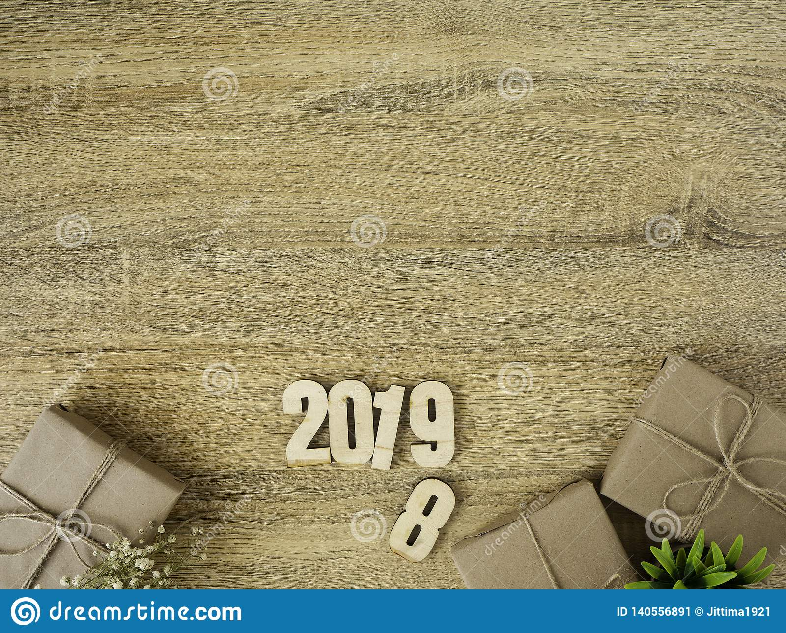 New year 2019 Gift boxes border design
