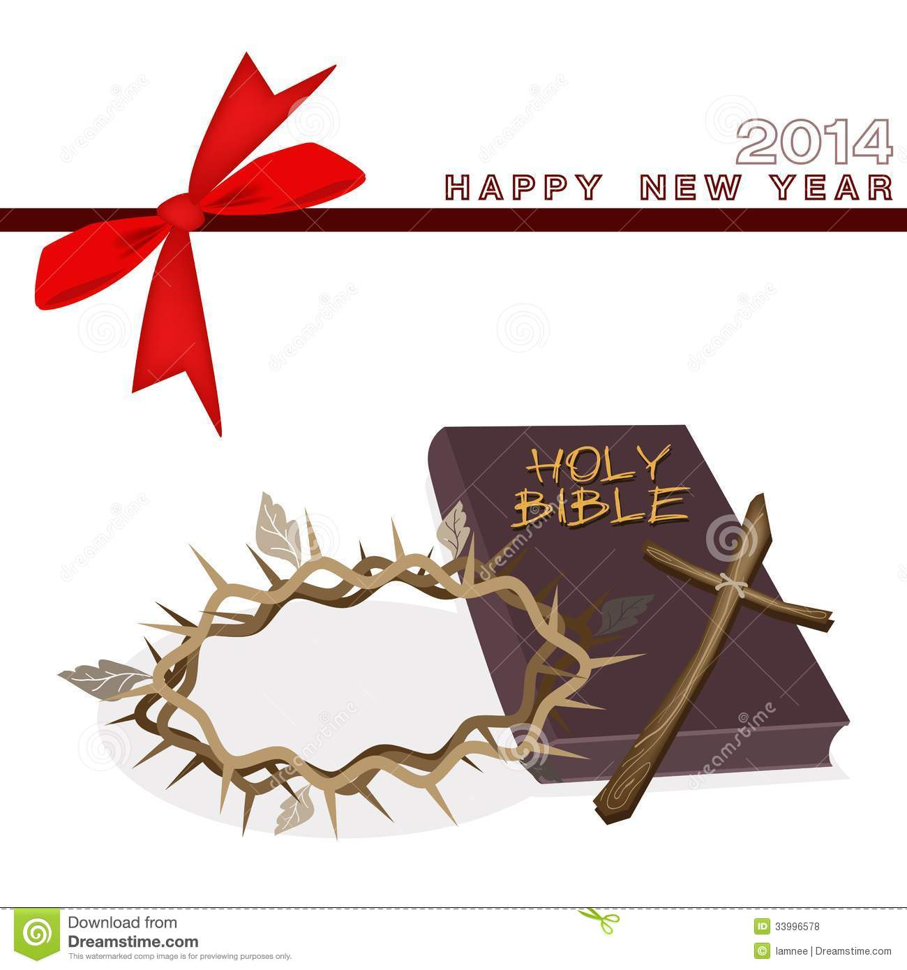 New year gift card with bible and crown of thorn stock vector new year gift card with bible and crown of thorn voltagebd Image collections