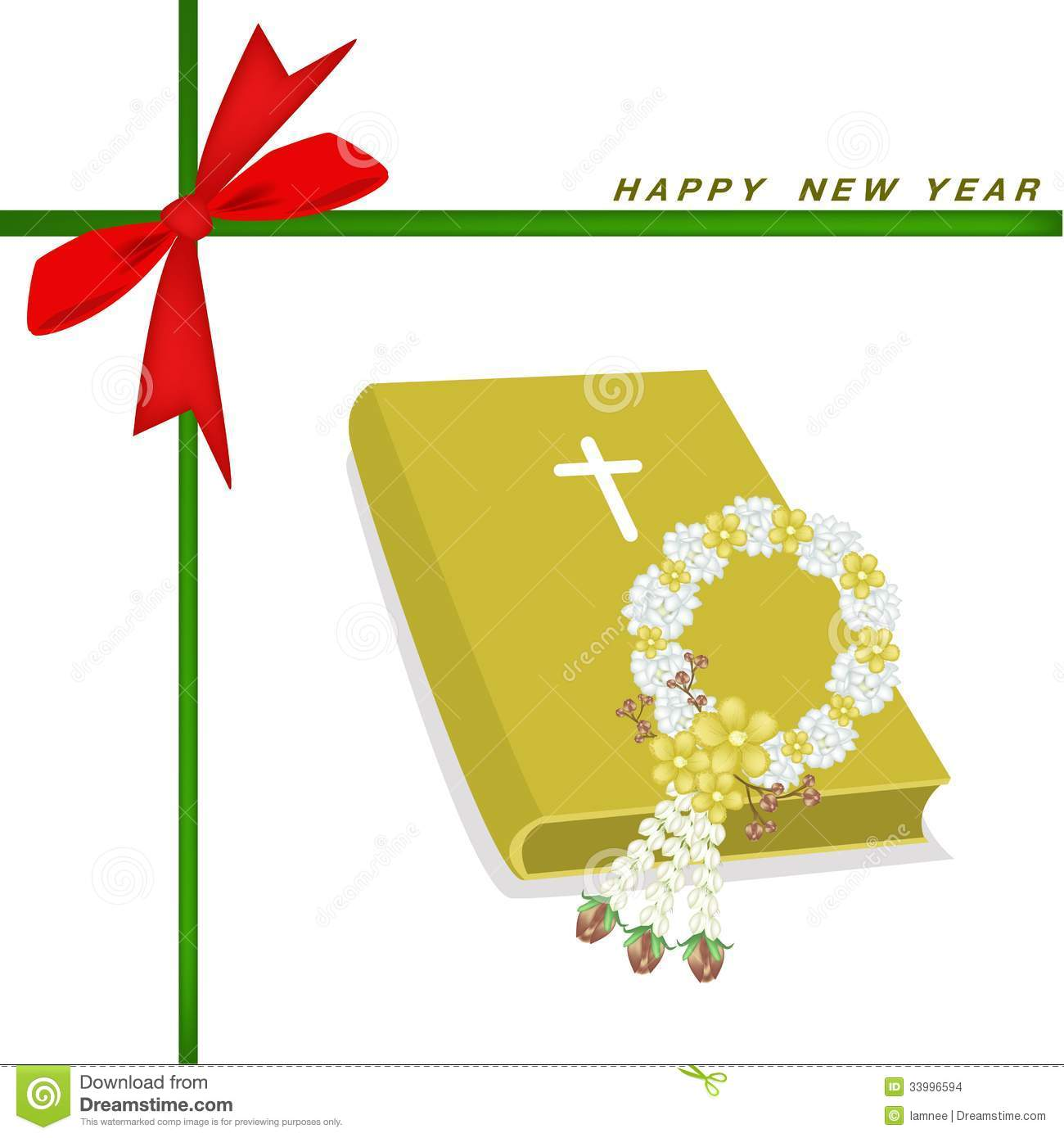 New Year Gift Card With Bible And Flower Garland Stock Illustration ...
