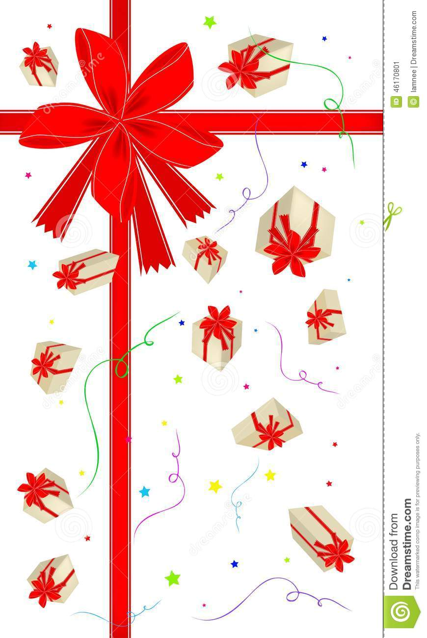New Year Gift Card With Gift Boxes Stock Vector Illustration Of