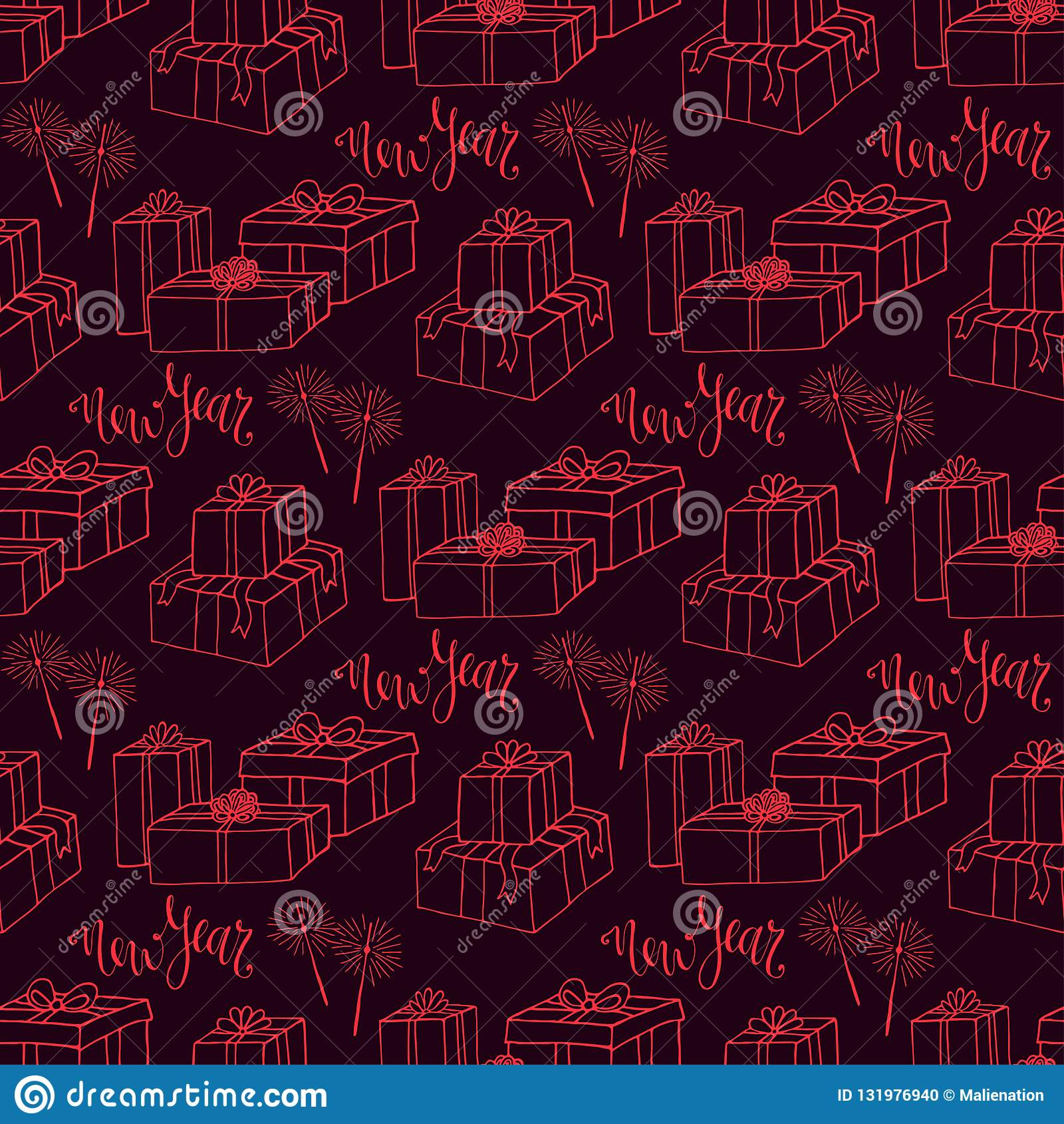 New Year Gift Paper. Wrapping Seamless Pattern Design ...