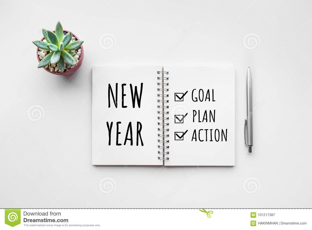 New Year Goal,plan,action Text On Notepad With Office Accessories ...