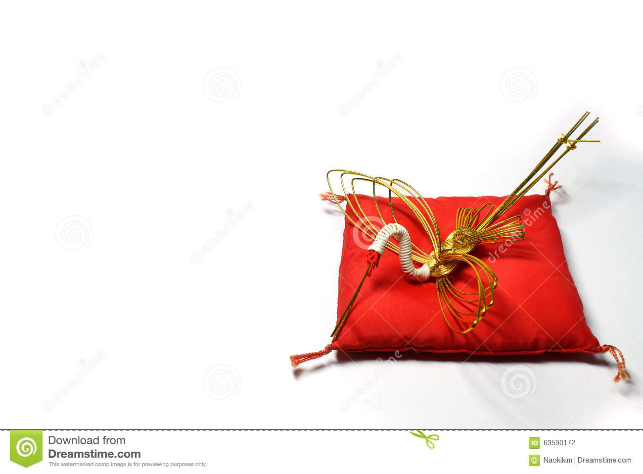 New Year Gold Crane On The Red Cushion Stock Photo - Image of ...