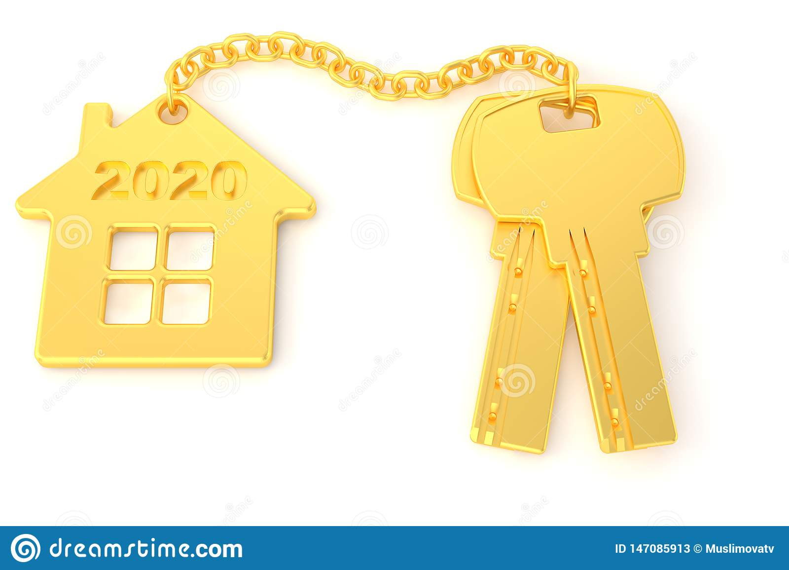 2020. New Year. Golden house keys with golden trinket house isolated on white background. Real estate. 3d rendering. new home